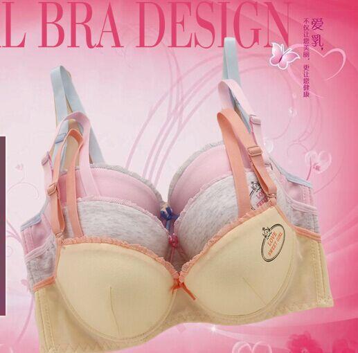 2015 new girls cotton bra underwear gather outside the development of student-proliferation soft rims clasp bra 6069 #(China (Mainland))
