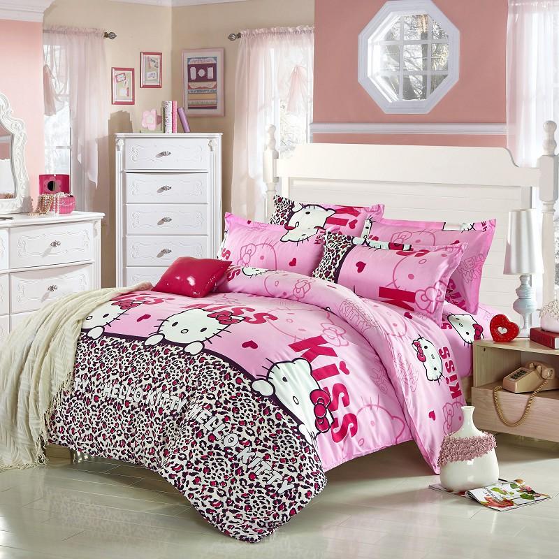 Hot Selling Leopard Hello Kitty Print Cartoon Bedding Set Duvet Cover Set Bed Linens Diamond Lint Sheet Bedding, 3/4pcs(China (Mainland))