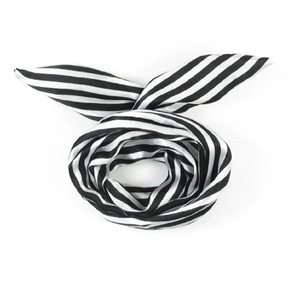 PHFU,Women Striped Print Fabric Coated Wire Hair Wrap Scarf Head Band White Black(China (Mainland))