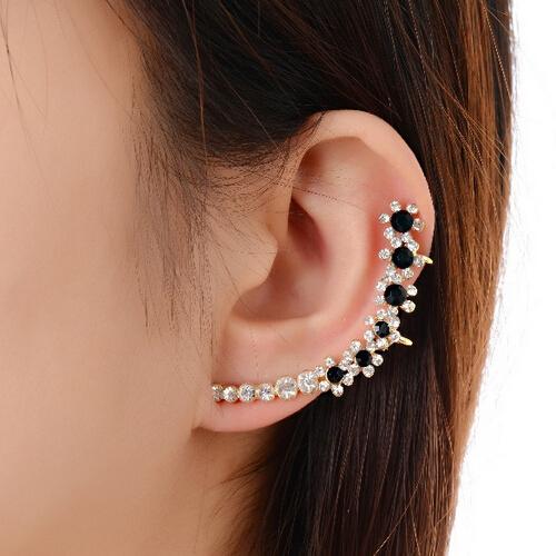 jewelery black flower earring clip top