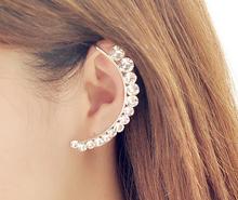 2015 New Fashion Design gold Ear Cuff Earring Gorgeous Crystal pendientes Curviplanars Moon Clip Earrings For Women brincos(China (Mainland))