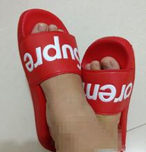 Haute qualité suprem sandales SUP pantoufles Super boîte inférieure SUPRE me homme femme sandales Reb noir(China (Mainland))