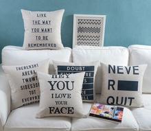 Life Sayings English Letters Cutom Pillows Cushion Cover Dream Love Cushions Linen Cotton Sofa Home Pillow Case Gift 45x45cm(China (Mainland))