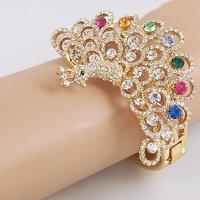 bracelet bangle peacock mult-colors crystals bridal accessories