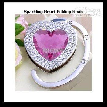 Bag Handbag Hanger Hook, Tiny Sparkling Crystals Around a Lovely Heart Shape Hook Pink Folding Purse