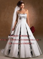 White &Black  Strapless Embroidery Lace-upChapel Train  Satin Wedding Dresses 1035