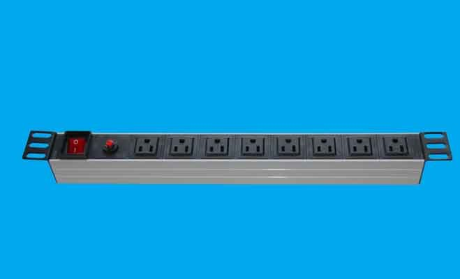 19inch AC Power/Socket - 8 outlet power_socket with overload 5A switch, Good For Cabinet or Project Power Source(China (Mainland))