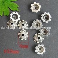 Free Ship!200pcs tibetan silver flower bead caps 8mm