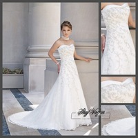 Fast Free Shipping!SP1916  White Chiffon Strapless Train Wedding Dress Ball Gown