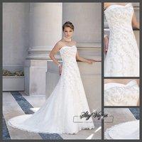 Fast Free Shipping!SP1916  White Lace Strapless Train Wedding Dresses vestidos de novia 2014