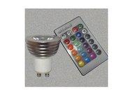 IR Remote controlled RGB LED spot light;GU10 Base;1*3W;Bridgelux Chip