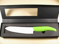 "New Qualit 6""Ceramic Paring Knife White w/ Green handle"