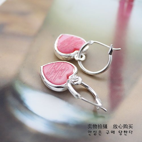 10 pairs/lot Double Heart lettering Bear Earrings Pink + Gift&Free Shipping(China (Mainland))