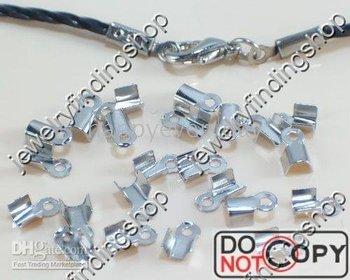400g CRIMPS silver plate LOOPED END CAPS Q39 fit charm bracelet chain