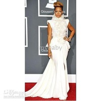 Free Shipping Rihanna High Necked Feathers Backless Gown Grammys Red Carpet Celebrity Dresses Formal Gowns Evening Dress
