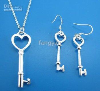 necklace 5 sets. jewelry 925 sterling silver men's women key pendant