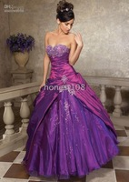 Custom-Made Sexy Purple embroidery Strapless Ball Gown Sweetheart Wedding Dresses #007