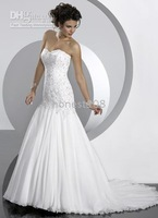 Custom-Made 2010 Sexy White embroidery Strapless A line Sweetheart Wedding Dresses #015