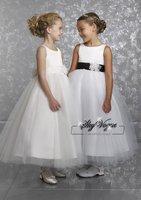 Free Shipping!ML505* White Organza Sash Flower Girl Dress Flower Gown