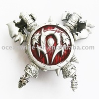 BELT BUCKLE (BLOOD RED AXES AND SHIELD OF WARCRAFT)