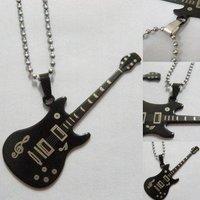 Wholesale Classic Men's Titanium Steel Necklace Music Notation Guitar Pendants Fashion Necklaces Free Shipping 15pcs/lot