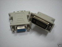 New Connector for Male DVI Dual Link to Female SVGA VGA DB15 Free Ship 1 Day Process 1 pcs per Lot