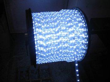 100m/roll LED 2 wires round rope light;30leds/m;13mm diameter;DC12V/24V/AC110/220V are optional;white color