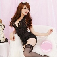 Free shipping--Sexy Halter Neck Skirt Garter Set + T tight pants + lace fishnet stockings / sexy underwear