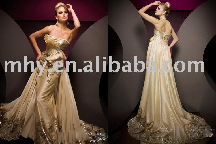 Fashion latest Gold appliqued evening dresses,bridesmaids dresses,party dresses,formal prom gowns,cocktail dresses tony103(China (Mainland))