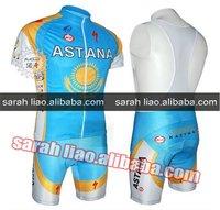 2010 new Astana light blue Short Sleeve bibs Cycling Jersey ( jersey and shorts) accept customize Dropshipping