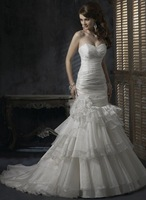 Ivory strapless swep train lace-up wedding dress 1006