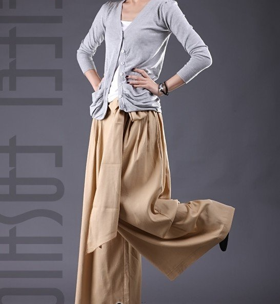 P002 Free shipping high quality women's Linen skirt pants Casual pants broad base pants loose fit pant(China (Mainland))