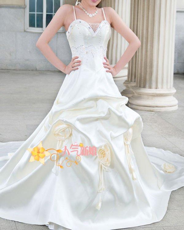 Vestido de noiva de casamento bonito cauda longa(China (Mainland))