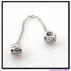 30pcs/lot Wholesale Fashion Pendant Heart Safety Chain Stopper Bead Fit Charms Bracelet 150167(China (Mainland))