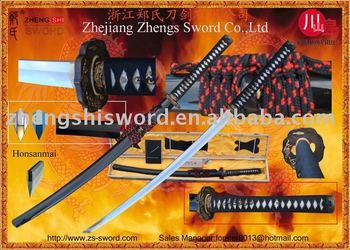 Handforged traditional samurai sword with Honsanmai laminated blade