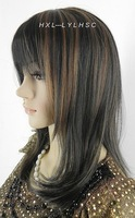 Sexy Wholesale A charming personality brown black Long Straight hair full lace wigs WIG NWE 2011 Latest Alternative sexy wig