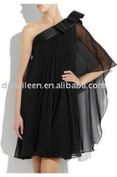 ER2135  Lovely Black Chiffon Evening Dress One Shoulder