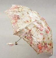 Wholesale - lady's parasols sun city 3 folding Embroidery Lace sunshade umbrella