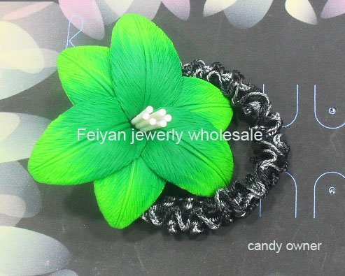 Wholesale - Polymer Clay flower Twister,flower Scrunchie,for women,for girl,50pcs per lot,mix color+free shipping(China (Mainland))