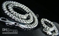 925 Sterling Silver Chain Men's Curb Necklace + Bracelet Set 10mm