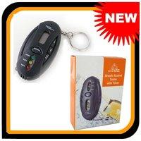 Free Shipping New Keychain Digital Breath Alcohol Tester Breathalyzer Analyzer with Timer