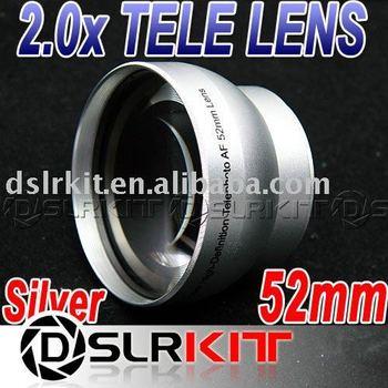 Silver 52mm 2.0x 2x TELE Telephoto LENS Multi Coated