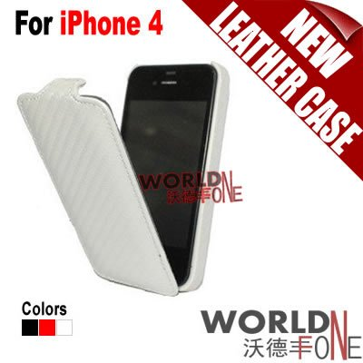 Wholesale - FREE SHIPPING!!! Mobile Phone Case Vertical flip Carbon Fiber Leather Case for iPhone 4 100pcs/lot (WF-I4C5)(Hong Kong)