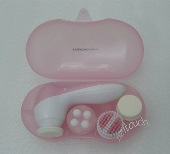 Wholesale 5set/lot 4 IN 1 Electric Portable Facial Hand Skin Care Beauty Cleaner Brush Exfoliation Massager Set CE ROHS FCC