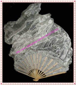 10pcs/lot free shipping brand new dance white fan veil/belly dance fan veil/silk fan veil/belly dance accessory