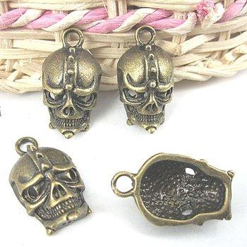 10pcs 18x13mm antiqued bronze head skull charms/pendants G333
