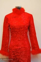 Noblest red Sexy Chinese Jacquard oriental lady tang suit all size TS-116