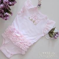 Retail cute&fashion Baby romper Girl's Wear The lovely princess pink bow lace Romper baby clothes HY123