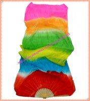 6 Color Silk Fan Veils Belly Dance Fan Veil In Stock