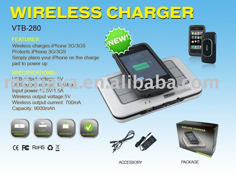 9000 mAh Hassle-Free wireless battery charging for 3GS iPhone with portable Mat and Receiver Case and other digital gadgets(Hong Kong)